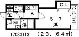 大阪府大阪市東住吉区田辺2丁目の賃貸マンションの間取り