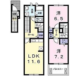 パームガーデンA[2階]の間取り