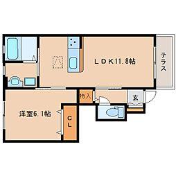 奈良県生駒郡斑鳩町東福寺1丁目の賃貸アパートの間取り