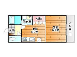 近鉄長野線 喜志駅 徒歩3分の賃貸マンション 1階1DKの間取り