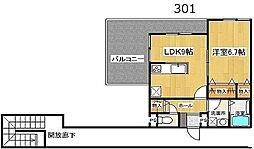 リーベル壱番館[   3階号室]の間取り