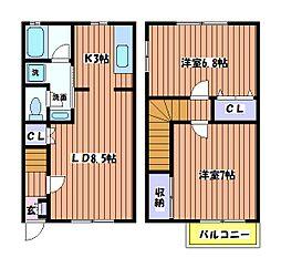 石川ベルメゾンC棟[2階]の間取り