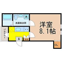 愛知県名古屋市東区大幸1丁目の賃貸アパートの間取り