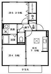 福岡県北九州市八幡西区下上津役4丁目の賃貸アパートの間取り