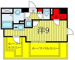 ミライズ早稲田レジデンス 8階ワンルームの間取り