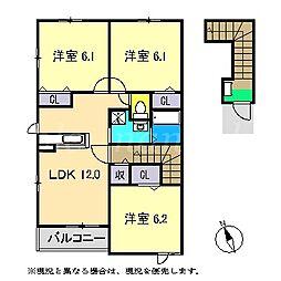 ビ・ホープフル桜ヶ丘[2階]の間取り