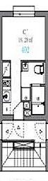 東京メトロ南北線 駒込駅 徒歩6分の賃貸マンション 2階ワンルームの間取り