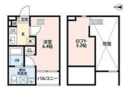 愛知県名古屋市中村区下中村町2丁目の賃貸アパートの間取り
