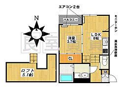 愛知県名古屋市昭和区川名町2丁目の賃貸アパートの間取り