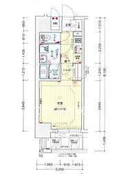 プレサンス大阪福島シエル 3階1Kの間取り