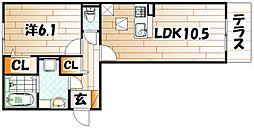 Polonia Kokura-kita[2階]の間取り