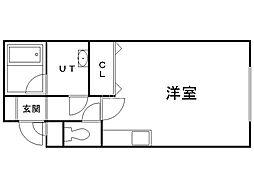 メゾンドフルール2 1階ワンルームの間取り