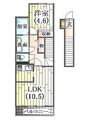 メゾンボナール三田[2階]の間取り