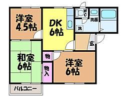 愛媛県松山市南久米町の賃貸アパートの間取り