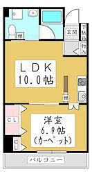 ポムダムール 6階1LDKの間取り