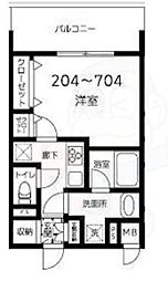 都営大江戸線 両国駅 徒歩10分の賃貸マンション 6階1Kの間取り