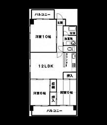 広島県広島市西区南観音5丁目の賃貸マンションの間取り