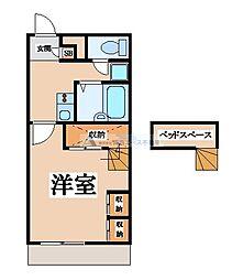 近鉄大阪線 河内山本駅 徒歩33分の賃貸マンション 1階1Kの間取り