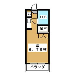 レクス84 1階ワンルームの間取り