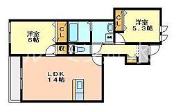 兵庫県三木市志染町西自由が丘2丁目の賃貸アパートの間取り