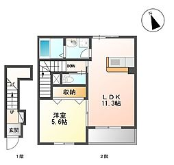 仙台空港鉄道 杜せきのした駅 徒歩18分の賃貸アパート 1階1LDKの間取り