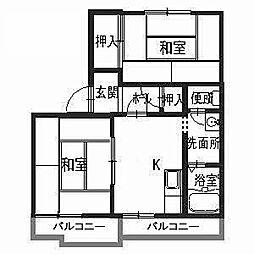 坂の久保ハイツA[2階]の間取り