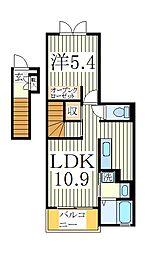 千葉県流山市美原1丁目の賃貸アパートの間取り