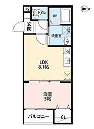 愛知県名古屋市中村区畑江通4の賃貸アパートの間取り
