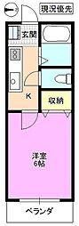 長野県松本市渚2丁目の賃貸アパートの間取り