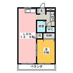 メゾンブルーム[1階]の間取り