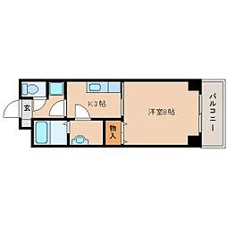 JR東海道本線 草薙駅 徒歩12分の賃貸マンション 1階1Kの間取り