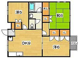 ラガーハイツ2 C棟[2階]の間取り