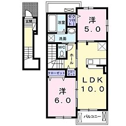 熊本電気鉄道 御代志駅 7.7kmの賃貸アパート 2階2LDKの間取り