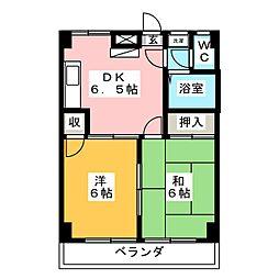 リヴェール喜沢 2階2DKの間取り