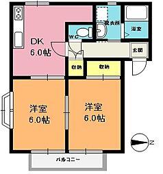 埼玉県上尾市本町6丁目の賃貸アパートの間取り