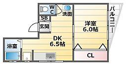 大阪府大阪市天王寺区真法院町の賃貸マンションの間取り