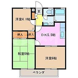 杉村ハイツ[1階]の間取り