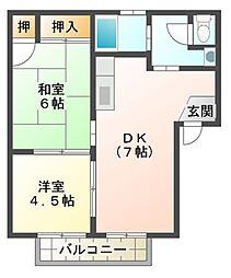 滋賀県東近江市八日市東浜町の賃貸アパートの間取り