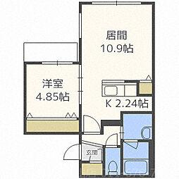 北海道札幌市中央区北二条西22丁目の賃貸マンションの間取り