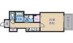 Osaka Metro谷町線 谷町六丁目駅 徒歩1分の賃貸マンション 10階1Kの間取り