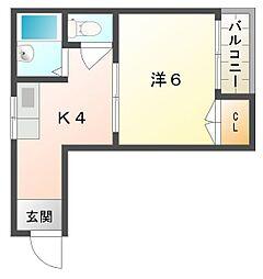 ニューハイツ桜III 3階1Kの間取り