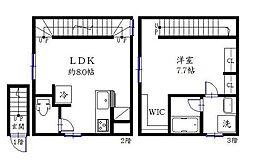 キングハウス世田谷上町 3階1LDKの間取り