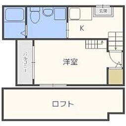 福岡県福岡市博多区千代1の賃貸アパートの間取り