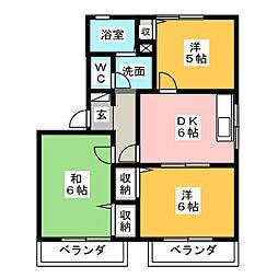 ファミールミタB[2階]の間取り