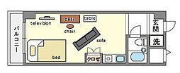 家具・家電付き ルエメゾンロワール祇園[3階]の間取り