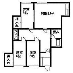 北海道札幌市清田区清田三条1丁目の賃貸アパートの間取り
