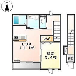 広島県福山市手城町2の賃貸アパートの間取り