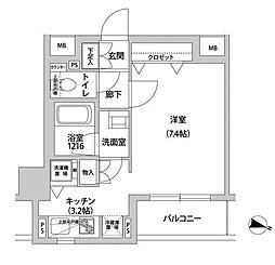 東京メトロ有楽町線 江戸川橋駅 徒歩3分の賃貸マンション 5階ワンルームの間取り