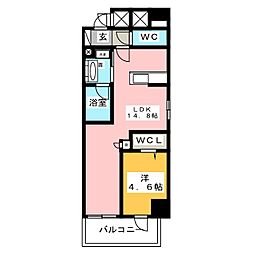 ベルオレイル 7階1LDKの間取り