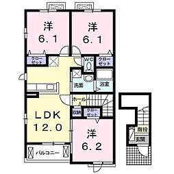 岡山県備前市伊部の賃貸アパートの間取り